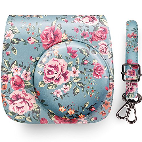 Elvam Vintage Flower Floral PU Leather Fujifilm Instax Mini 9 / Mini 8 / Mini 8+ Instant Film Camera Case Bag w/ a Removable Bag Strap