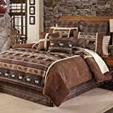 4pc Wildlife Theme Brown Queen Comforter Set, Outdoor Rustic Stylish Country Cabin Lodge Pattern, Bear Moose Fish Designs