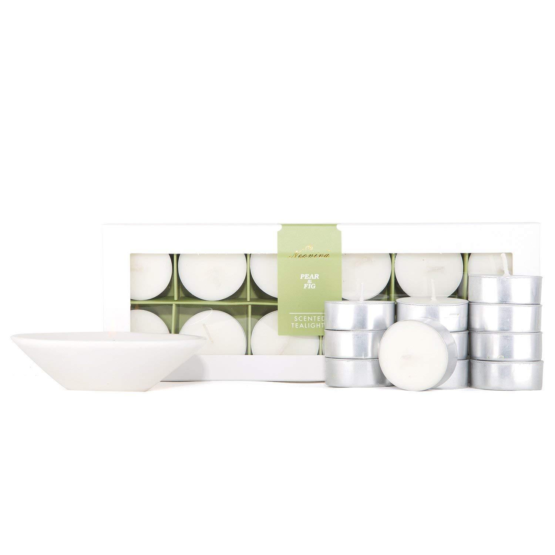 NEOVIVA HOME アロマテラピーキャンドル 100%天然エッセンシャルオイル 香り付きキャンドル 大豆ワックス ストレス解消 アロマセラピー用 ギフトセット 12パック Pear&Fig B07PYDV3VJ  Pear&Fig