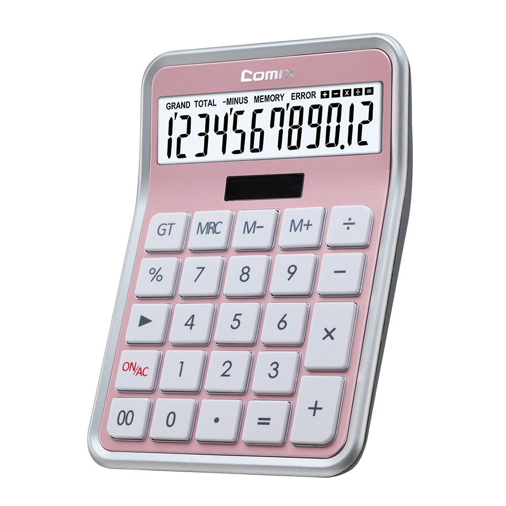 Comix Calculator 12 Digits, Calculator for Office/Home/School,C-8S (Rose Gold)