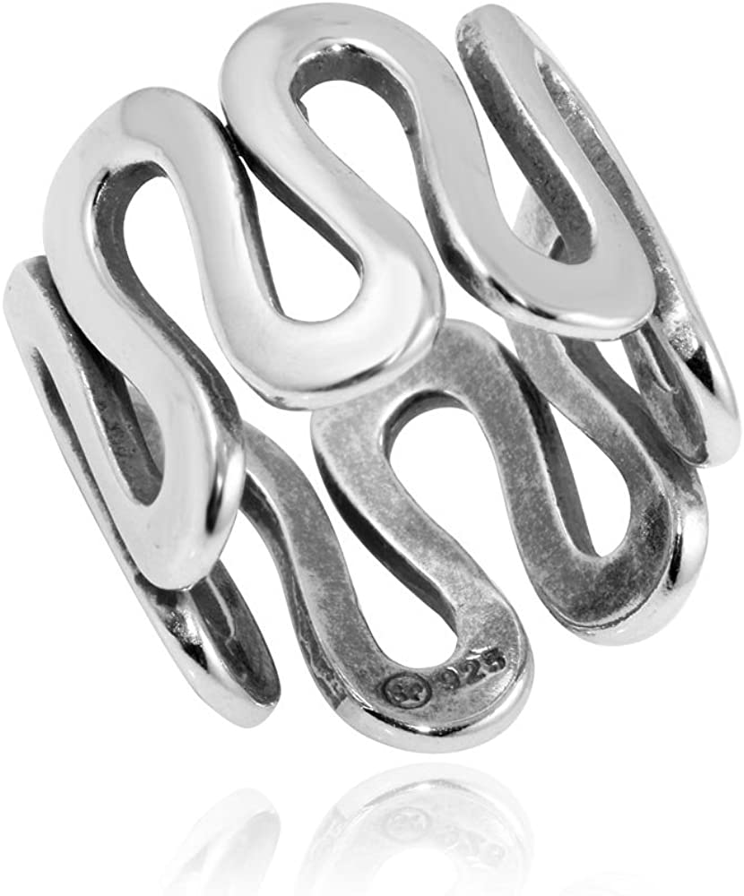 Textured Wave Band High Polished Sterling Silver Ring