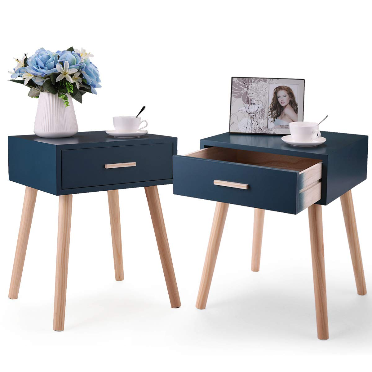 JAXPETY Set of 2 Side End Table Nightstand w/1 Drawers Storage (Dark Blue)