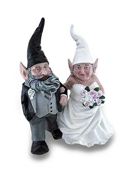 Captivating Wedding Couple Mr. And Mrs. Bride And Groom Garden Gnome Statue 15 In.