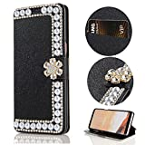 Stysen Wallet Case for iPhone 8 4.7'',Glitter Flip Case iPhone 7 4.7'',Shiny Pearl Black Bookstyle Strass Flower Buckle Wallet Case Cover for iPhone 8 4.7''/7 4.7''-Flower,Black