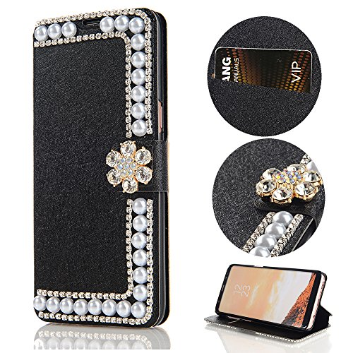 Stysen Wallet Case for iPhone 8 4.7'',Glitter Flip Case iPhone 7 4.7'',Shiny Pearl Black Bookstyle Strass Flower Buckle Wallet Case Cover for iPhone 8 4.7''/7 4.7''-Flower,Black by Stysen