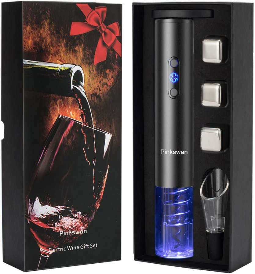 Wine Opener Electric Gift Set, Whiskey Stone Wine Lover Gifts with Wine Accessories of Automatic Corkscrew, Metal Ice Cube, Wine Pourer, Foil Cutter 4-in-1 set