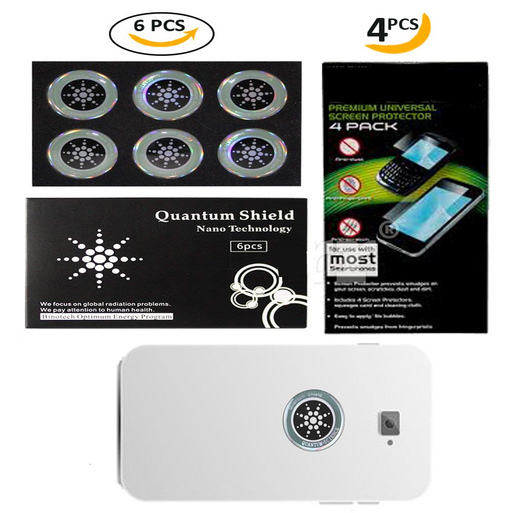 EMF PROTECTION SHIELD STICKER! - Silver 6pc. Bundled W/6 Screen Protectors! - CLEAR SIGNAL! - Universal/Durable/Easy/Cell Phone/Laptop/Tablet/Gaming Device/Router/eBook/Home Appliances, More!