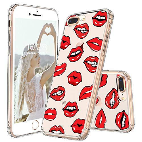 detailed look 9b4c6 777cf MOSNOVO iPhone 8 Plus Case, iPhone 7 Plus Case, Sexy Lips Pattern Printed  Clear Design Transparent Plastic Back Case with TPU Bumper Protective Case  ...