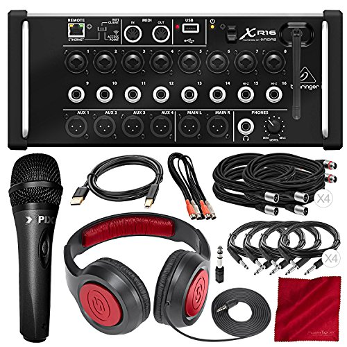 (Behringer X Air XR16 Digital Mixer with Wi-Fi and USB Recorder with Samson Headphones, Xpix Dynamic Microphone, and Assorted Cables Deluxe Bundle)