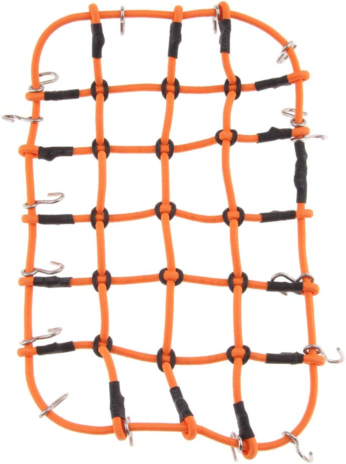 Larger Elastic Rubber Luggage Net Medium Mesh with Metal Hook for D90 TRAXXAS TRX-4 Rock Crawler Buggy Car Parts Orange