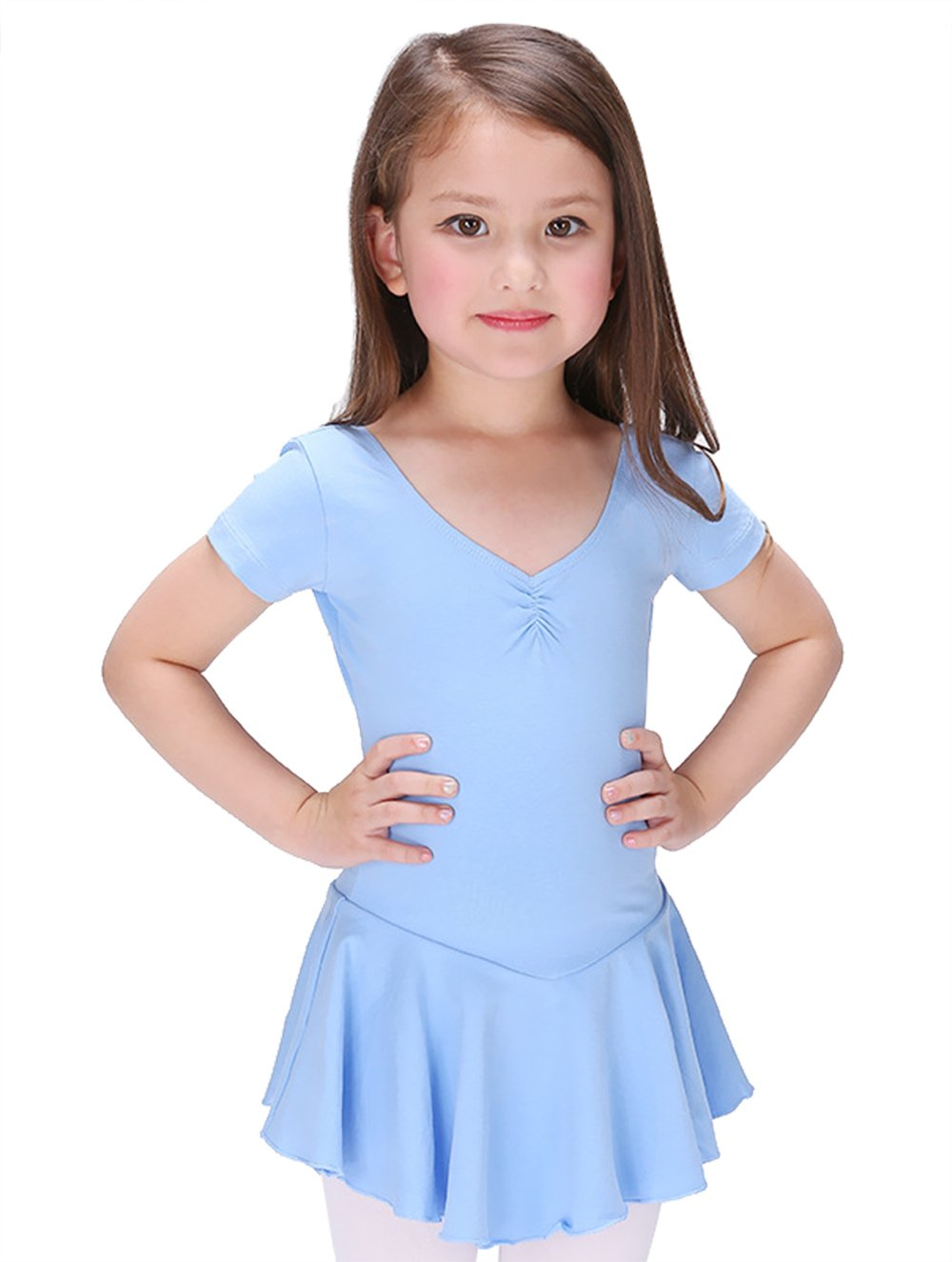 Children Dance Dress Leotard Breathable Short Sleeve Fashion Ruffle for Training JINPIN