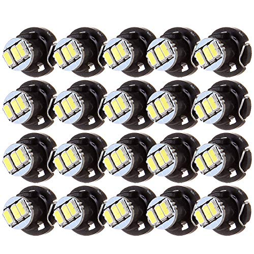 ECCPP 20Pcs White 10mm T4.2 Neo Wedge LED Bulbs Instrument Panel Gauge Cluster Indicator A/C Climate Control ()
