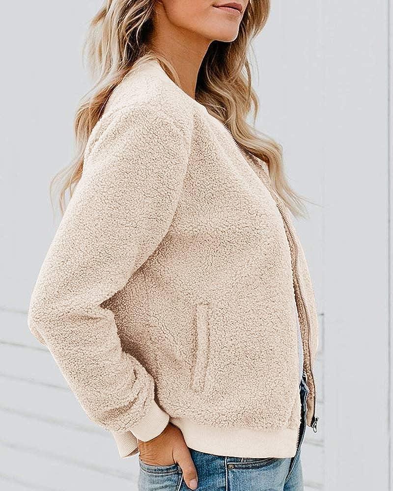 Rvshilfy Women Fleece Fuzzy Jacket Long Sleeve Faux Sherpa Casual Zip Up Bomber Coat Pocket