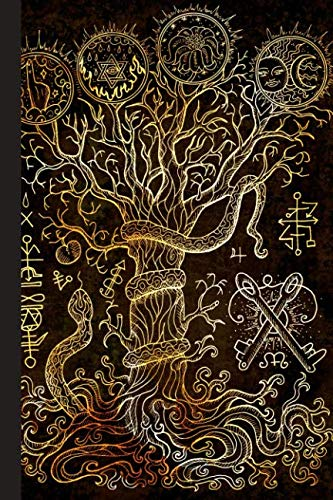 Grimoire Spell Book: Book of Shadows Layout with Cornell Notes for Manifestation Updates - Tree of Knowledge (Tree And Paganism Christmas)