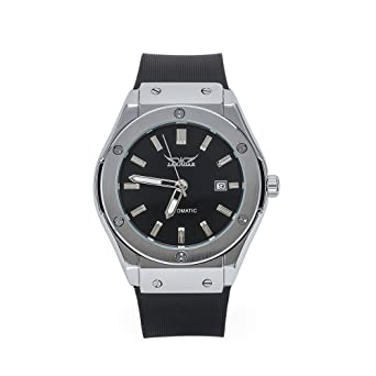 11d1cae9136 SOAO men s sprot style watches automatic mechanical wristwatch rubber strap  stainless steel dial with date display