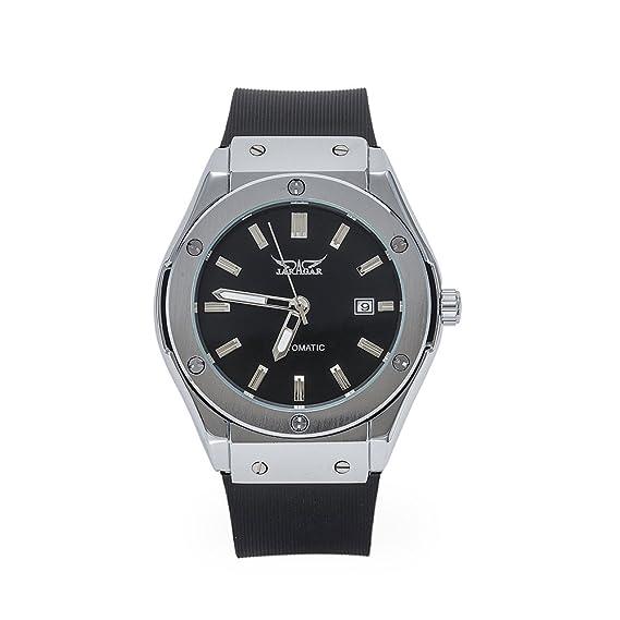 SOAO - Reloj de pulsera mecánico automático para hombre, correa de caucho, esfera de acero inoxidable con indicador de fecha: Amazon.es: Relojes