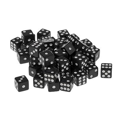 50 Piezas Juegos de Mesa Dados de 6 Caras Acrílico TRPG 12mm Color Negro: Juguetes y juegos