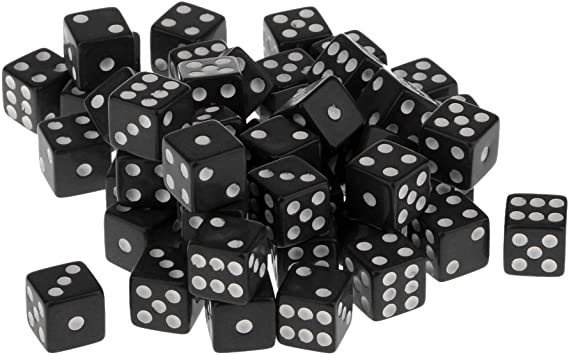 50 Piezas Juegos de Mesa Dados de 6 Caras Acrílico TRPG 12mm Color Negro: Amazon.es: Juguetes y juegos