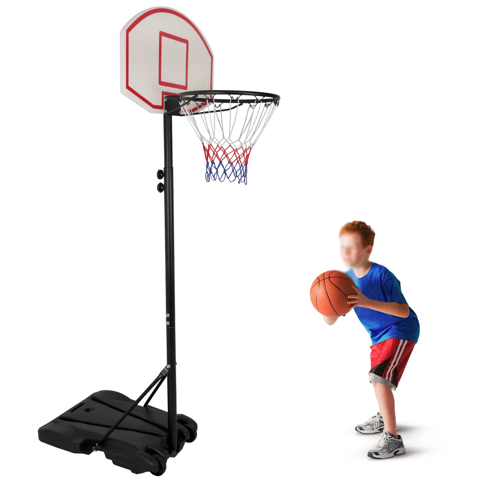 HomGarden Mini Portable Basketball Hoop Stand for Kids Juniors 8 ft Adjustable Height Backboard Starter Basketball System w/Wheels Indoor Outdoor by HomGarden
