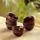 ExclusiveLane 'Crimson Shields' Microwave Safe Ceramic Cereal Serving Bowls Set (120 ML, Set of 6)