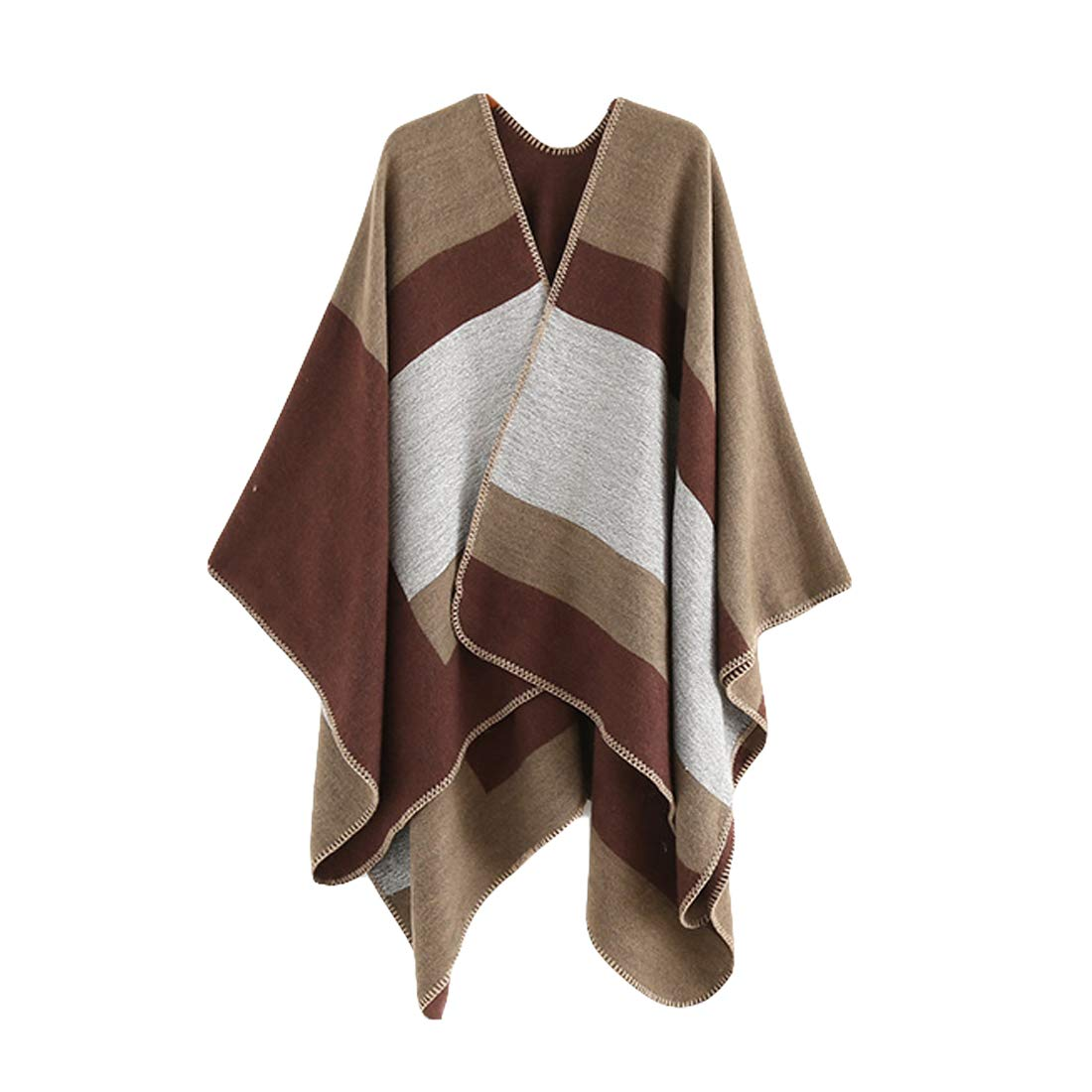 Belgius Women Shawl Wrap Color Block Blanket Scarf Open Front Poncho Capes Burgundy LY-SHAWL-A0010-WR