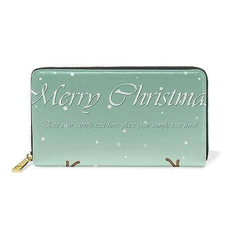 COOSUN El canto de Navidad ciervos de dibujos animados de piel bolso de embrague largo carpeta
