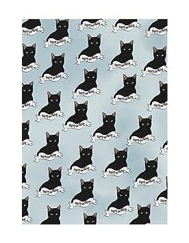 """Amelia Florence - Papel de regalo, diseño de gato negro con texto""""Happy Birthday"""""""