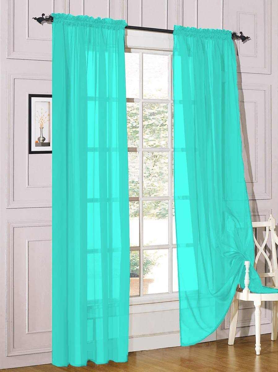"""Decotex 2 Piece Sheer Voile Light Filtering Rod Pocket Window Curtain Panel Drape Set Available in a Variety of Sizes and Colors (54"""" X 63"""", Turquoise)"""