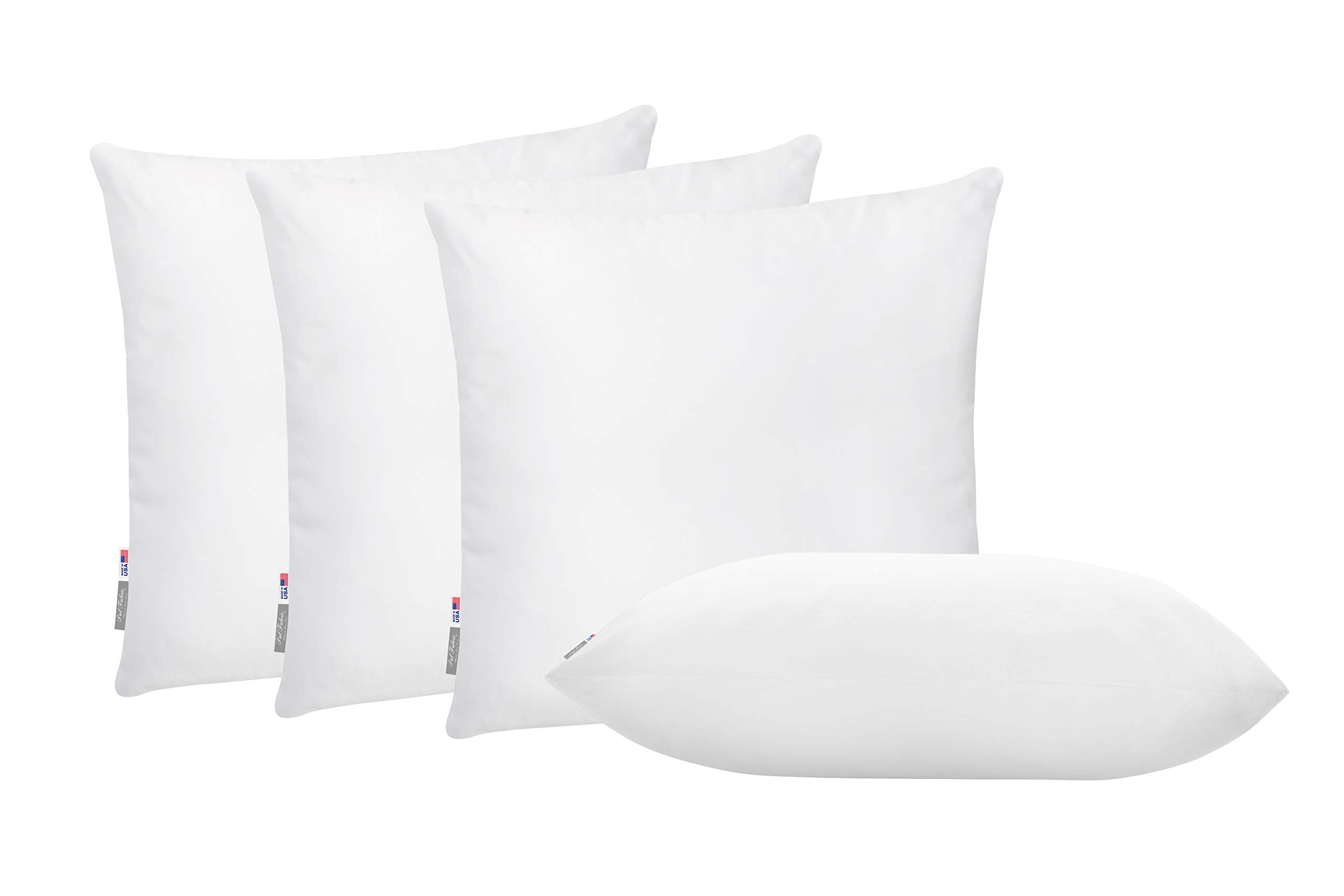 Pal Fabric Pack of 4 Soft Microfiber Square Pillow Insert for Sham or Decorative Pillow Made in USA (22x22)