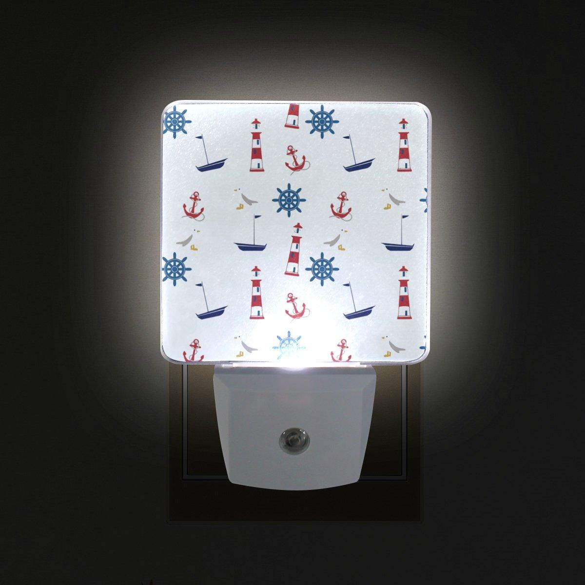 GIOVANIOR Nautical Anchor Lighthouse Plug in Dusk to Dawn Light Sensor LED Night Light Wall Light for Bedroom, Bathroom, Hallway, Stairs, Energy Efficient