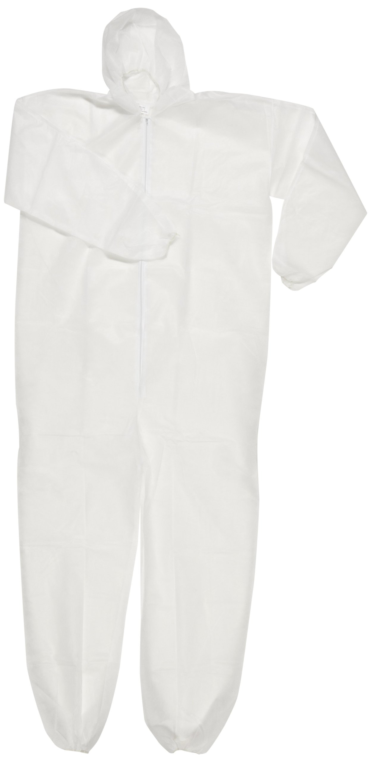 Magid EconoWear Lite N Kool Plus Polypropylene Coverall with Hood, Disposable, Elastic Cuff, White, Large (Case of 25)