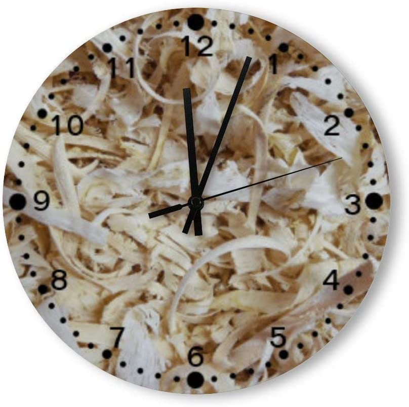 PotteLove 12 Inch Silent Vintage Wooden Round Wall Clock Non Ticking Quartz Battery Operated, Wood Chips Novelty for Woodworkers W Minutes Rustic Chic Style Wooden Round Home Decor Wall Clock