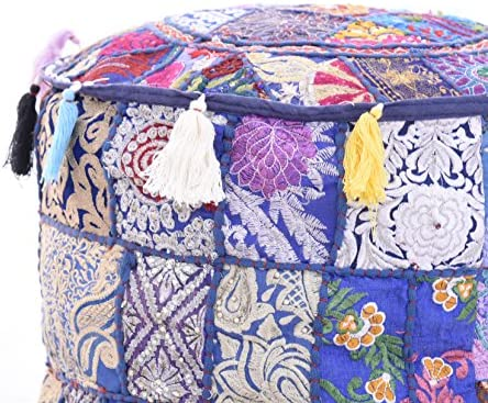 Indian 18×14 Bohemian Patch Work Ottoman Cover,Traditional Vintage Indian Pouf Floor Foot Stool, Christmas Decorative Chair Cover , Decorative Living Room Foot Stool Bohemian Chair Covers Only Cover,