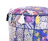 Indian 18x14'' Bohemian Patch Work Ottoman Cover,Traditional Vintage Indian Pouf Floor/Foot Stool, Christmas Decorative Chair Cover , Decorative Living Room Foot Stool Bohemian Chair Covers Only Cover,