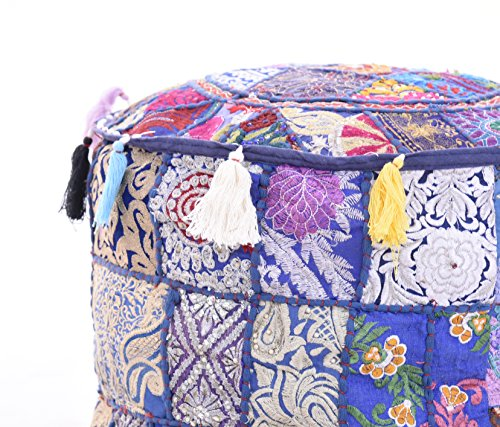 Indian 18x14'' Bohemian Patch Work Ottoman Cover,Traditional Vintage Indian Pouf Floor/Foot Stool, Christmas Decorative Chair Cover , Decorative Living Room Foot Stool Bohemian Chair Covers Only Cover, by iinfinize