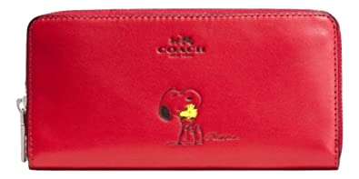 5c49032938 Coach X Peanuts Snoopy, Accordion Zip Leather Wallet, Classic Red ...