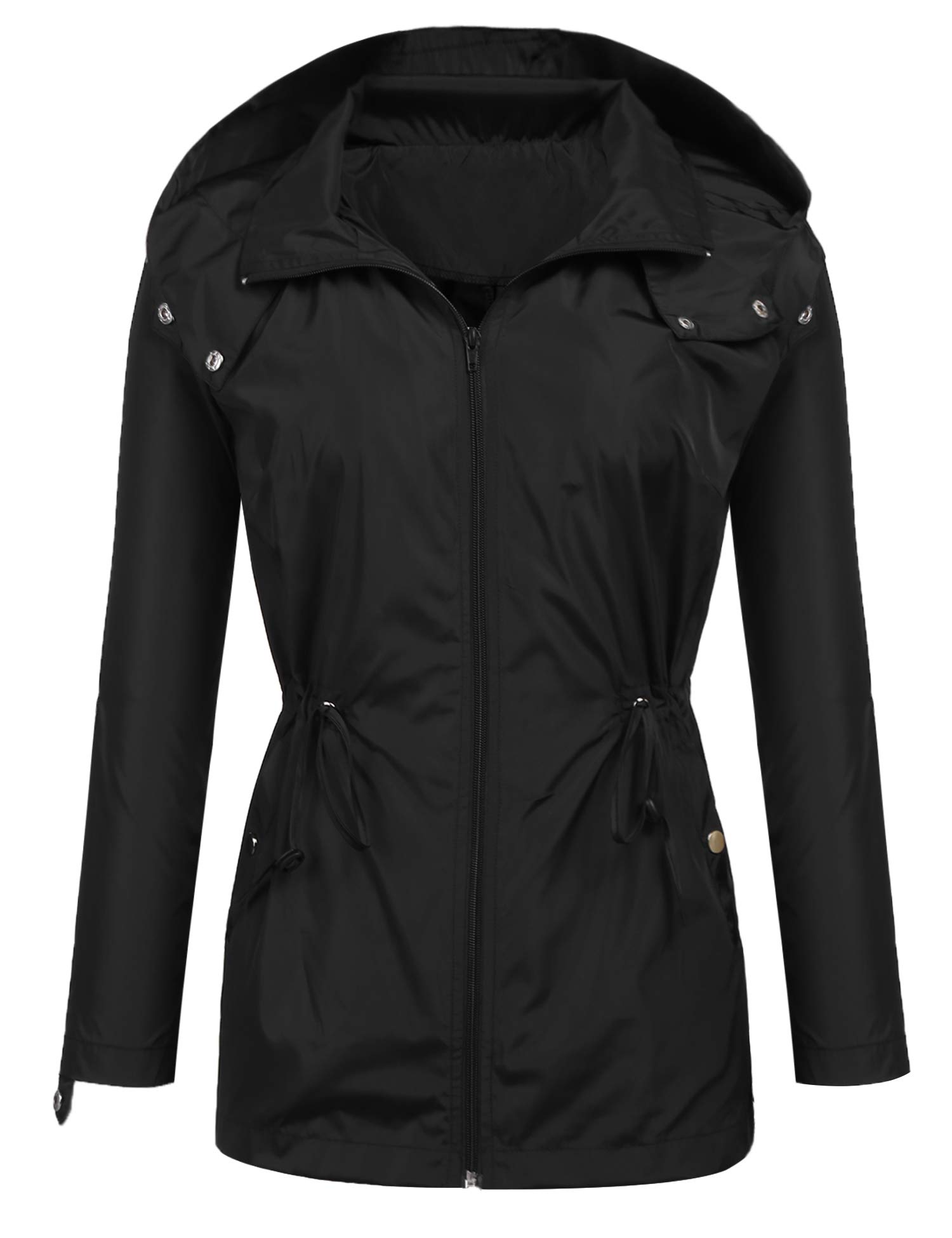 Easther Raincoats Waterproof Lightweight Rain Jacket Active Outdoor Hooded Women's Trench Coats Black Small