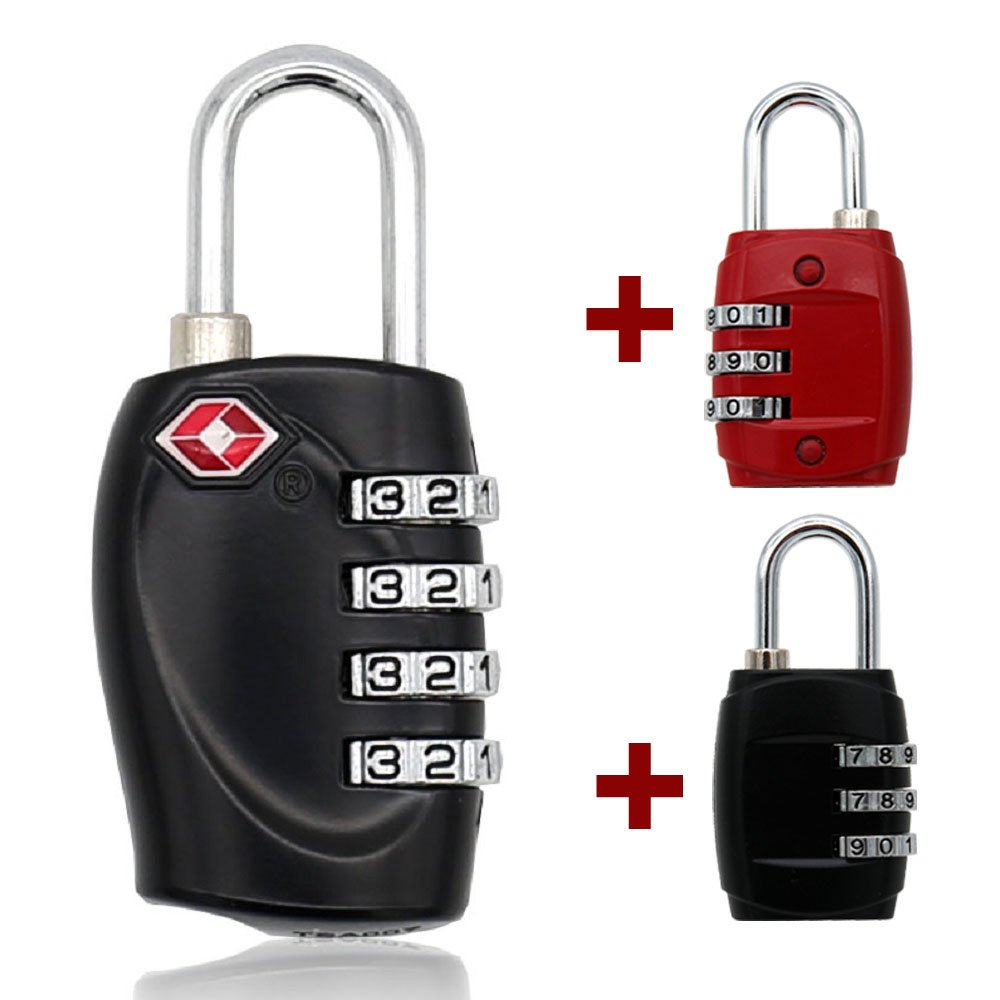 MIONI TSA Luggage Locks with 4 Digit Combination – Heavy Duty Set Your Own Padlocks for Travel, Baggage, Suitcases & Backpacks +2ps Luggage Lock(1+2ps,Black/red)