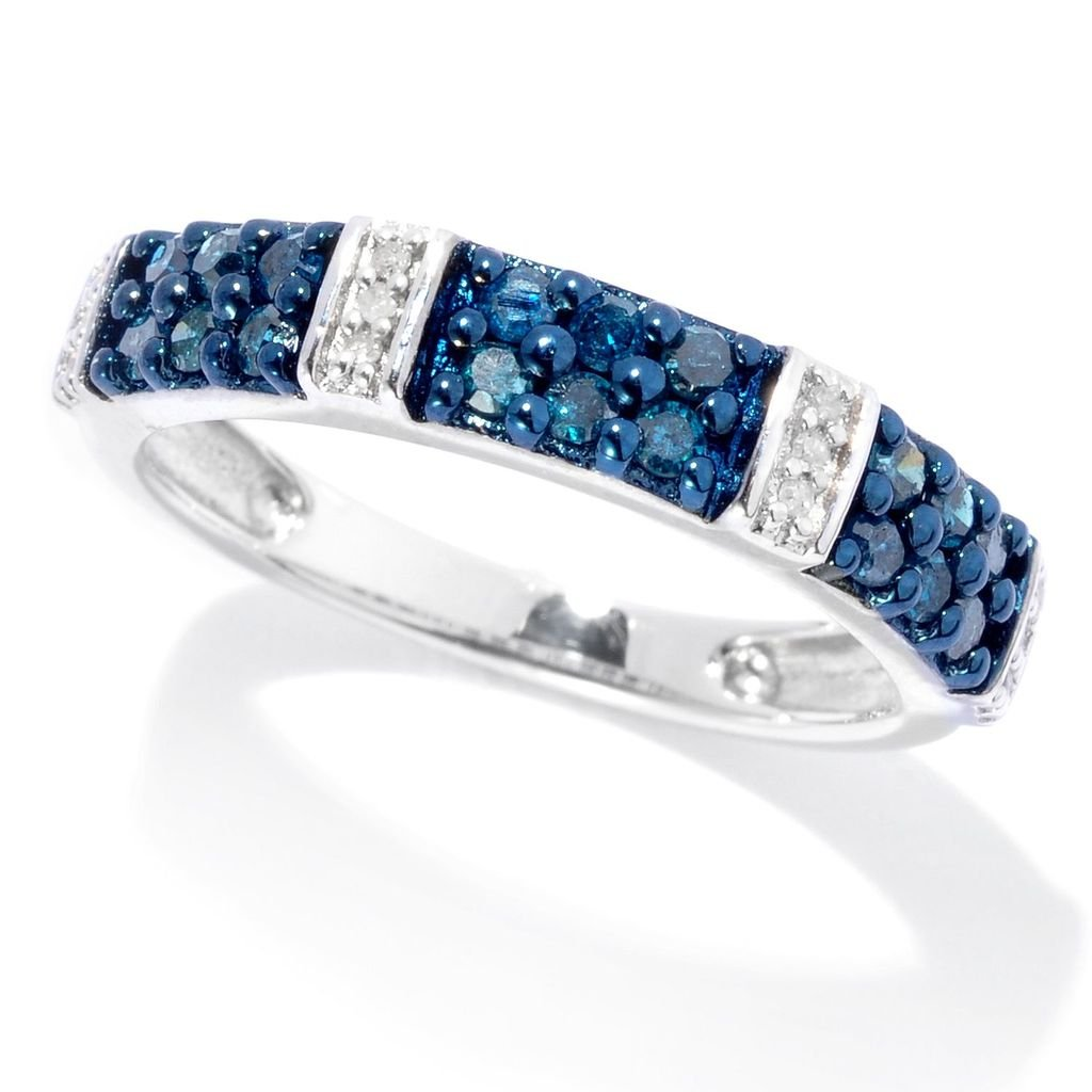 Sterling Silver 0.42ct Blue and White Diamond Station Band Ring