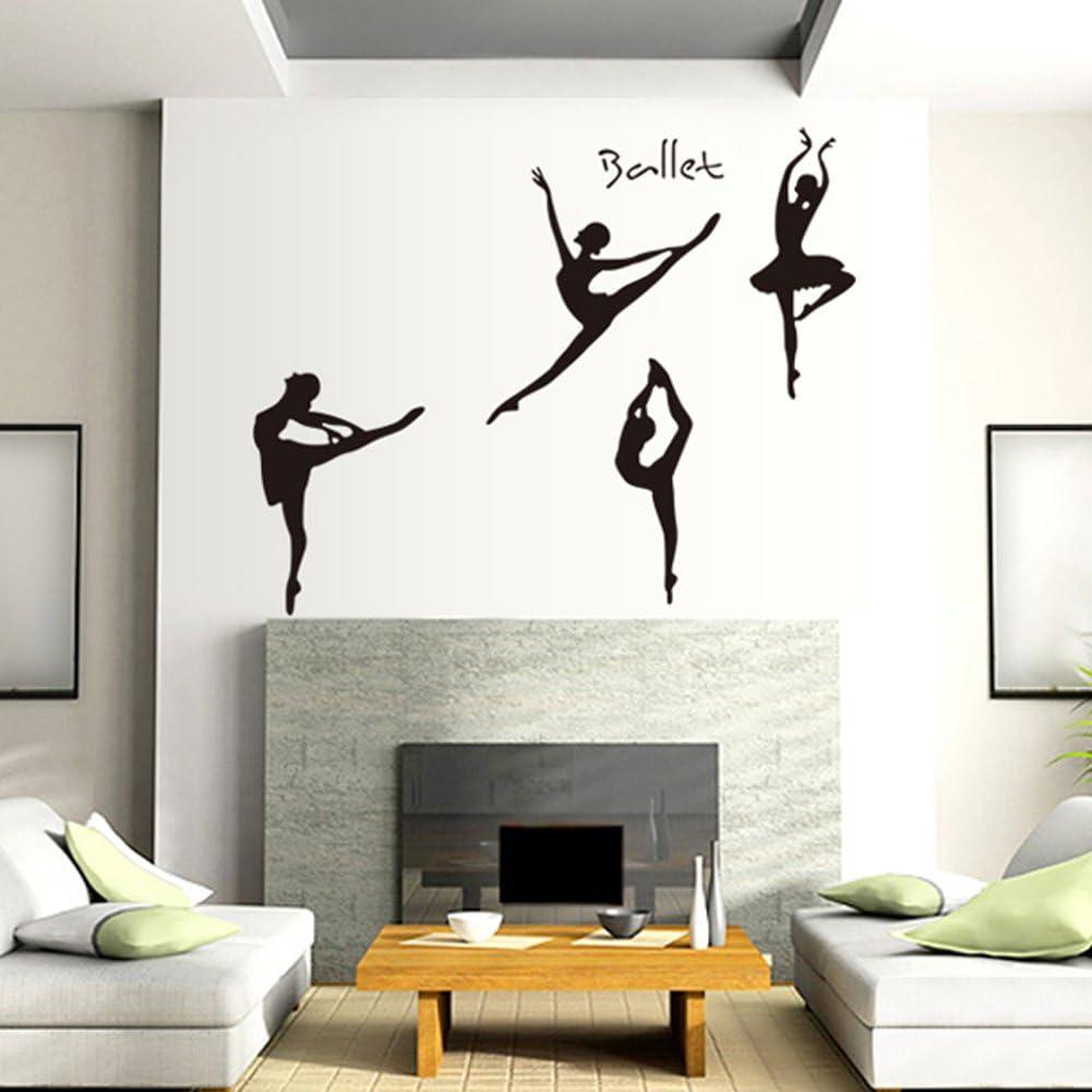 Balletto Girl adesivi murali per Camera da letto Soggiorno Studio di danza Sfondo Adesivi rimovibili Decor Stickers