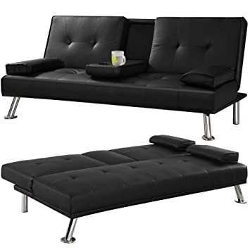 Tinkertonk Modern Extra Comfort 3 Seater Faux Leather Sofa Bed,Black