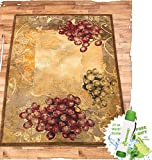 Gift Included- Vineyard Themed Decorative Kitchen Jute Accent Rug Runner Area Carpet Decor + FREE Bonus 23 oz Water Bottle byHomecricket (Area Rug, 63'' x 86'')