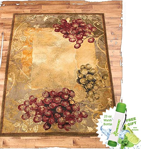 Gift Included- Vineyard Themed Decorative Kitchen Jute Accent Rug Runner Area Carpet Decor + FREE Bonus 23 oz Water Bottle byHomecricket (Area Rug, 63'' x 86'') by HomeCricket