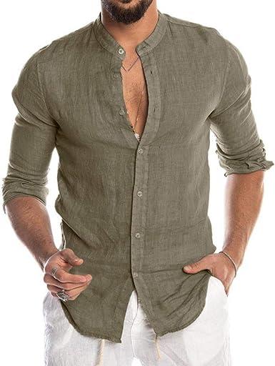 AYN Blusa de Hombre Camisa de Lino de algodón Tops Sueltos ...