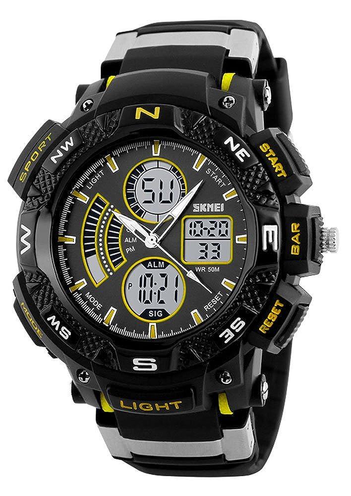 Men s Analog Digital Watch Waterproof Dual Time EL Backlight Stopwatch, Outdoor Sport Watches for Boys