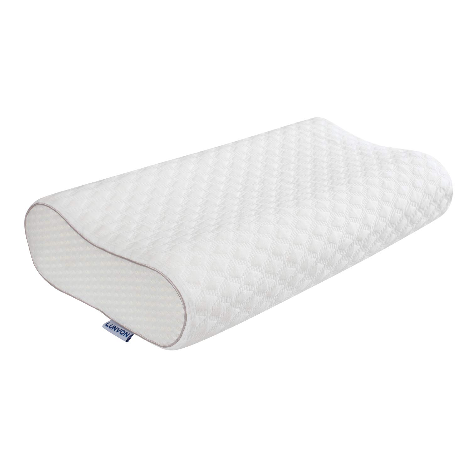 Lunvon Queen Memory Foam Bed Pillow for Sleeping Height Adjustable Cervical Pillow with Pain Relief Design Breathable Cooling Hypoallergenic Cotton Cover Protector CertiPUR-US, White by Lunvon
