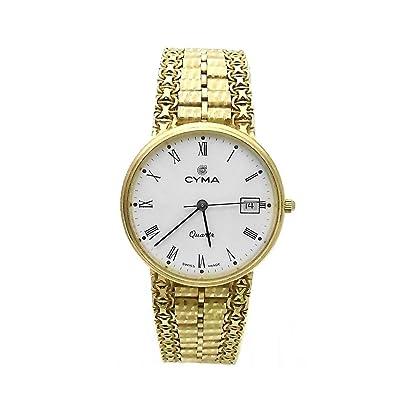 271cf2b79958 Reloj Cyma oro 18k hombre maya esfera blanca 6394  AB3896  - Modelo  6394   Amazon.es  Joyería