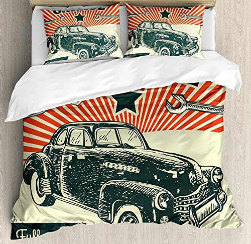 Set Poster Full Bed Size (CHASOEA Cars Duvet Cover Set Full Size, Retro Car and Garage Advertising Poster Style Picture with Grunge Effects 1960s Floral Duvet Cover and Pillow Shams Bed Set, Emerald Orange)