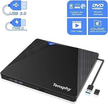 Lector DVD Externo, Tensphy Grabadora DVD CD Externa USB 3.0 y Type-C para Todas Las Computadoras Portátiles, Computadoras de Escritorio, MacBooks Bajo XP / 2003 / Vista/Win 7/8/10 / Mac OS: Amazon.es: Electrónica
