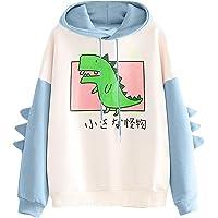 Vrouwen Dinosaurus Hoodie Sweatshirt Lange Mouw Leuke Kawaii Dino Hoodie Truien Crop Top Dier Kleding Meisjes Tiener…